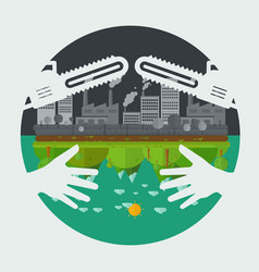 eco friendly hands hug concept vector image