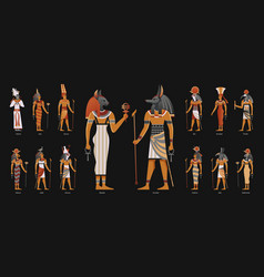Egypt ancient gods background vector