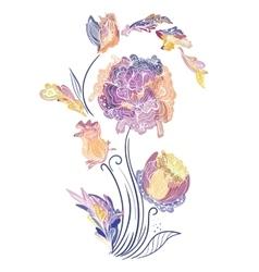 Elegant vignette with sketch flowers vector
