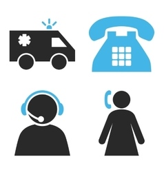 Emergency Operator Flat Icons vector image