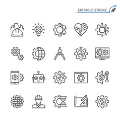 Engineering line icons editable stroke vector