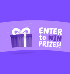 Enter to win prizes gift box cartoon style vector