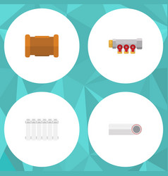 Flat icon sanitary set of radiator pipe pipework vector