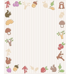 Frame with woodland icons vector