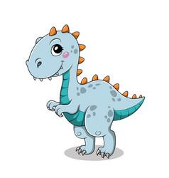 Funny cartoon baby tyrannosaurus dinosaur vector