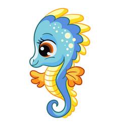 Funny cute happy seahorse sea creatures cartoon vector