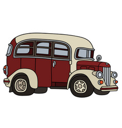 Funny old red bus vector