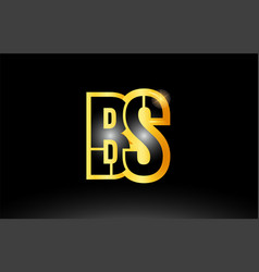 Gold black alphabet letter bs b s logo vector