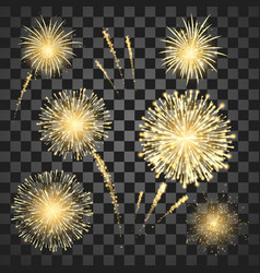gold festival fireworks set colorful carnival vector image