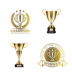 Gold shiny rewards for winners and champions set vector