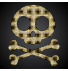 gold skull Pirate flag Sequins object vector image