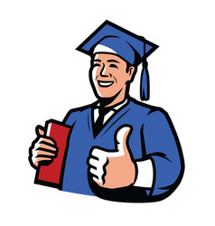 Graduate with diploma education college high vector