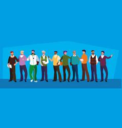 Group teachers men avatar character vector