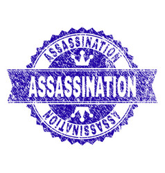 Grunge textured assassination stamp seal with vector