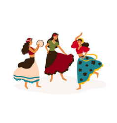 Gypsy girls dancing flat vector