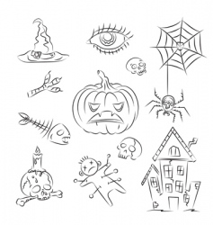 Halloween witch icons vector image