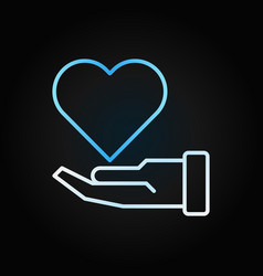 hand with blue heart charity creative vector image
