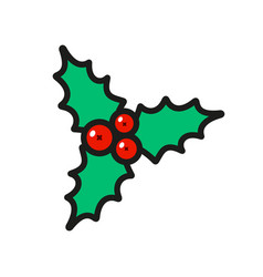 holly berry christmas icon isolated on white vector image