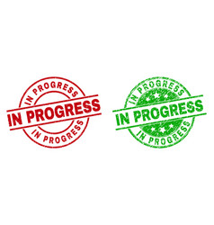 in progress round badges using distress surface vector image