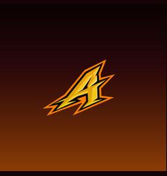 initial a gaming e sport logo design template vector image