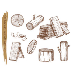 Isolated sketch wooden elements vintage lumber vector