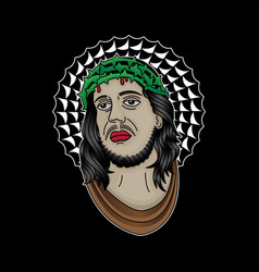 jesus christ face tattoo vector image