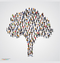 Large tree formed out of people vector