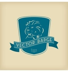 Lion Badge with Shield and Ribbon vector image