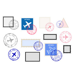 Mail stamps collection and ink impress set vector