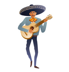 mariachi band musician guitarist mexican vector image