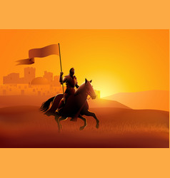 Medieval knight riding a horse carrying a flag vector