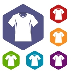 Men tennis t-shirt icons set vector