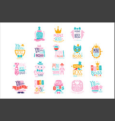 mini boss logo original design colorful hand drawn vector image