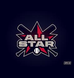 Modern professional emblem all star for baseball vector