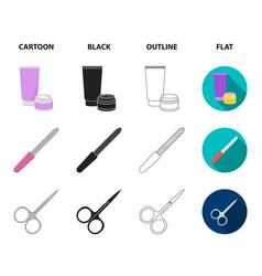 Nail file scissors for nails perfume powder vector