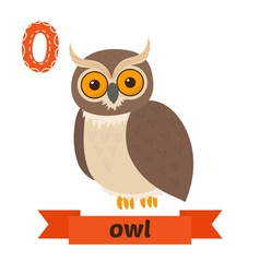 Owl O letter Cute children animal alphabet in vector