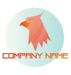pink eagle head inside blue bubble logo on white vector image