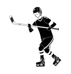 Player hockey gear and equipment in black and vector