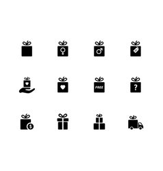 Present box icons on white background vector image
