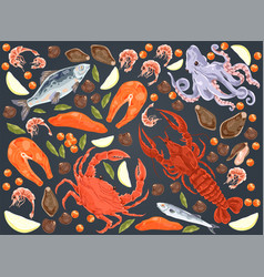 raw fish salmon fillet octopus mussels gourmet vector image
