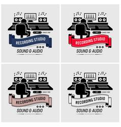 recording studio and sound engineering logo vector image