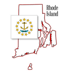 rhode island state map and flag vector image