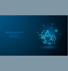 Sagittarius on blue abstract background simple vector