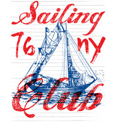Sailing club tee poster graphic vector