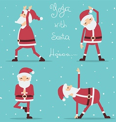 Santa claus doing yoga vector