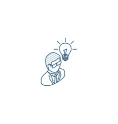 scientist man idea isometric icon 3d line art vector image