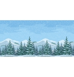Seamless Christmas Winter Landscape vector image