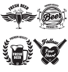 set craft beer badges with with design elements vector image