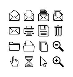 set general user interface pictograms vector image