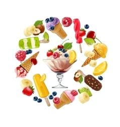 Set icons of ice cream vector